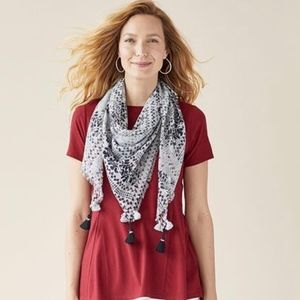 J. Jill Embroidered Floral Print Triangle Scarf